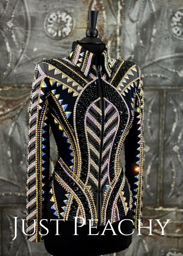 Charcoal Gold And Black Showmanship/all-Day Jacket By Stella ~ Ladies Xs Western Horse Show