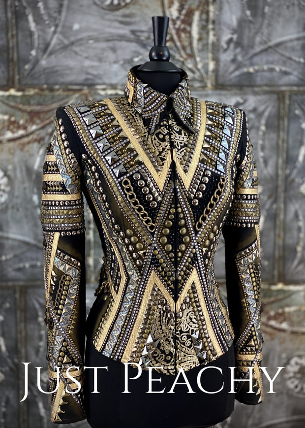 Gold Pewter And Black All-Day Jacket By Silver Lining ~ Ladies Small Western Horse Show