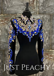 Cobalt Blue, Crystal AB and Black Horsemanship Shirt by DarDar8 Designs ~ Ladies Small