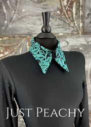 Black and Teal Bolero Vest Set by A Winning Attitude ~ Just Peachy Show Clothing