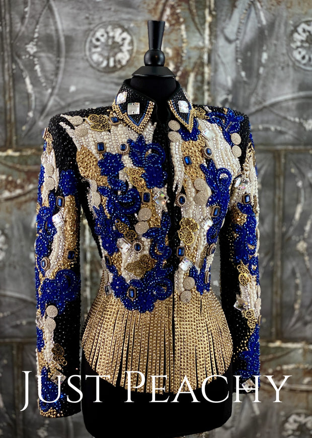 Blue, Gold and White Riding Jacket with Fringe by Lindsey James ~ Ladies Medium