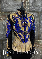 Gold, Cobalt Blue and Black Riding Jacket with Fringe by Trudy ~ Ladies Small