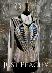 Gunmetal, Silver and Black Vest with Fringe by Stella ~ Ladies XS
