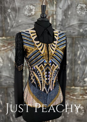 Blue, Gold and Black Vest with Fringe by Stella