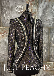 Fancy Black Brocade Showmanship Jacket ~ Just Peachy Show Clothing