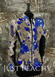 Royal Blue, Silver and Black Showmanship Jacket by Trudy Black Label ~ Just Peachy Show Clothing