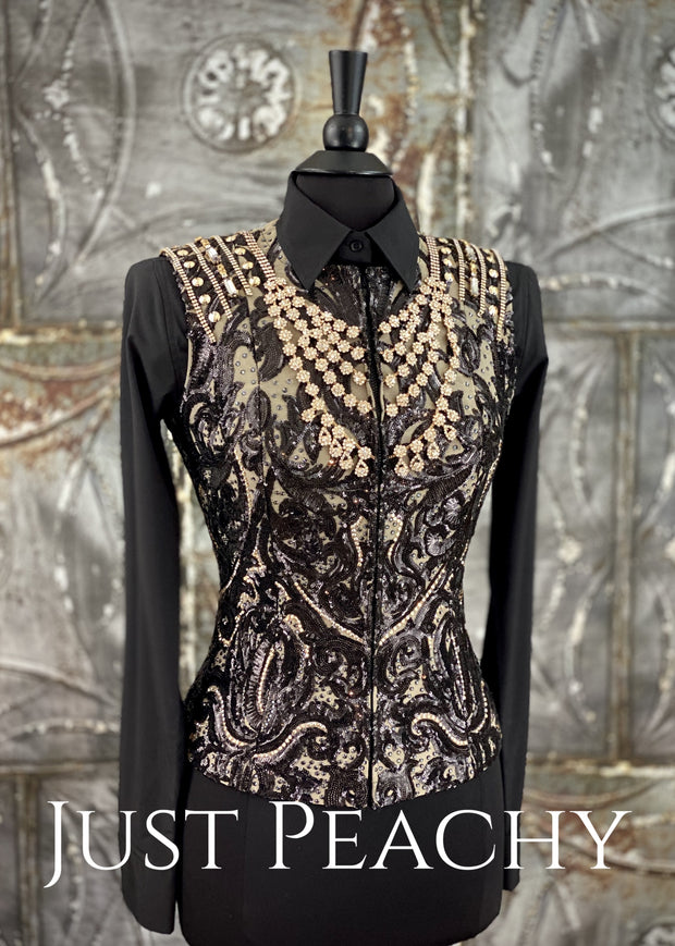 Taupe, Black and Gold Western Horse Show Vest ~ Just Peachy Show Clothing