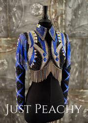 Sapphire Blue, Silver and Black Bolero Vest Set by Trudy Black Label ~ Youth XL