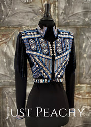 Silver, Blue and Black Bolero Vest and Shirt Set by Lenka Fogltonova ~ Ladies XS