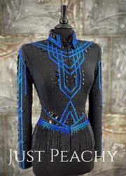 Caribbean Blue and Black Jacket with Fringe by Jackson Rae Designs ~ Ladies Small/Medium