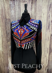 Royal Blue Coral And Black Bolero With Fringe By Dardar8 Designs ~ Ladies Small Western Horse Show