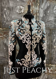 Turquoise, Pearl, Black and White Jacket by Showtime ~ Ladies XS