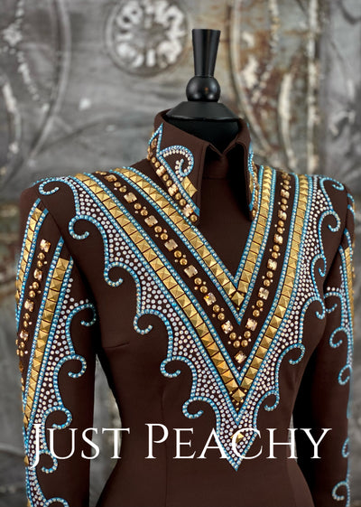 Chocolate, Turquoise and White Opal Horsemanship Shirt by Deb Moyer ~ Ladies Small/Medium