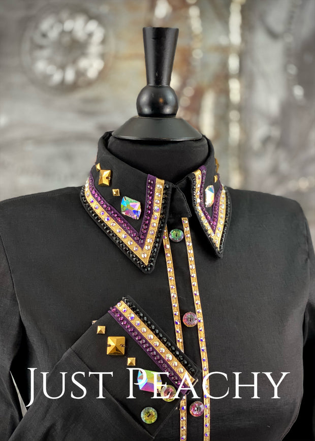 The Cosmopolitan Dress Shirt in Black with Gold and Amethyst ~ Ladies Small
