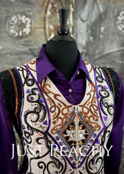 Copper, Purple, White and Black Vest and Shirt Set by DarDar8 Designs ~ Ladies 1X/2X