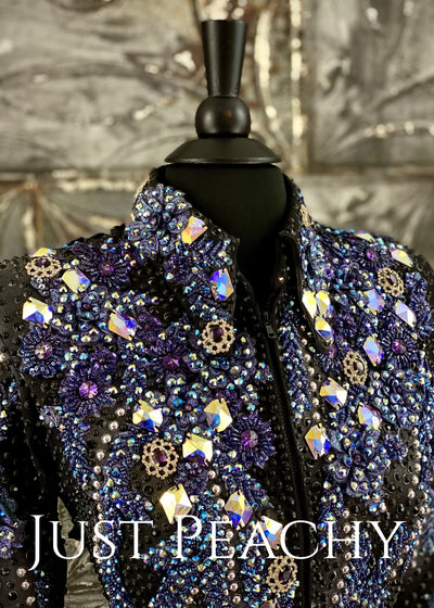 Purple, Midnight Blue and Black Jacket by Trudy/Juls Collection ~ Just Peachy Show Clothing