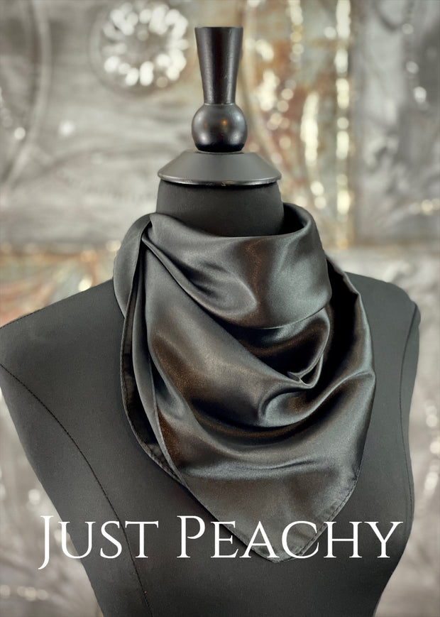 The Just Peachy Silky Solid Show Scarf ~ 23 Inch {Black}