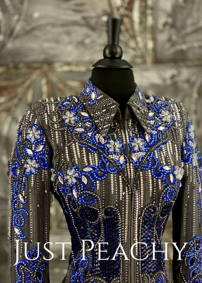 Royal Blue and Charcoal Pinstripe Showmanship Outfit by Paulas Place ~ Just Peachy Show Clothing