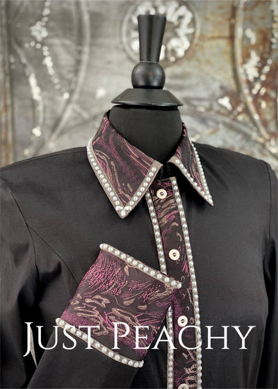 Black, Plum and Grey Pearl Day Shirt by On Pattern Designs ~ Ladies Medium