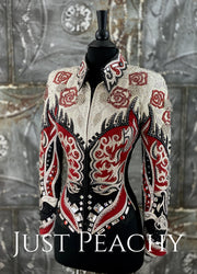 Edgy Red, White, Silver and Black Jacket by Lindsey James ~ Ladies XS