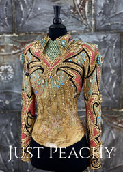 Paula's Place coral, mint sand and gold horsemanship outfit ~ Just Peachy Show Clothing