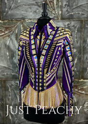 Purple Gold And Black Fringed Riding Jacket By Stella ~ Just Peachy Show Clothing