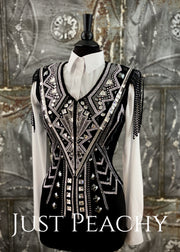 Silver, Gunmetal and Black Vest by DarDar8 Designs ~ Ladies Small