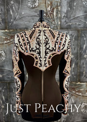 Chocolate Copper And Ivory Horsemanship Shirt By Lindsey James ~ Ladies Medium Western