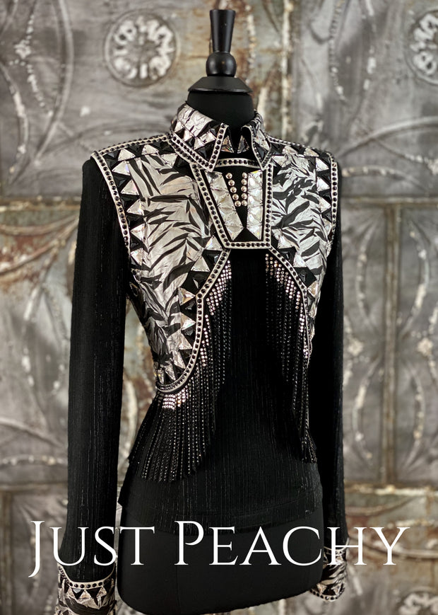 Zebra Fringe Vest and Shirt Set by On Pattern Designs ~ Ladies Small