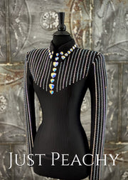 Black and Crystal AB Pinstripe Horsemanship/Day Shirt by KLS Designs ~ Ladies XS
