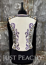 White Purple And Black Leather Vest By Michele Taylor ~ Ladies Medium Western Horse Show