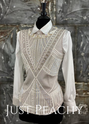 White and Silver Horse Show Vest ~ Just Peachy Show Clothing