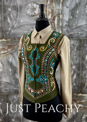 Olive Green, Teal and Gold Vest Set by Dry Creek Designs ~ Youth XL/Ladies XXS