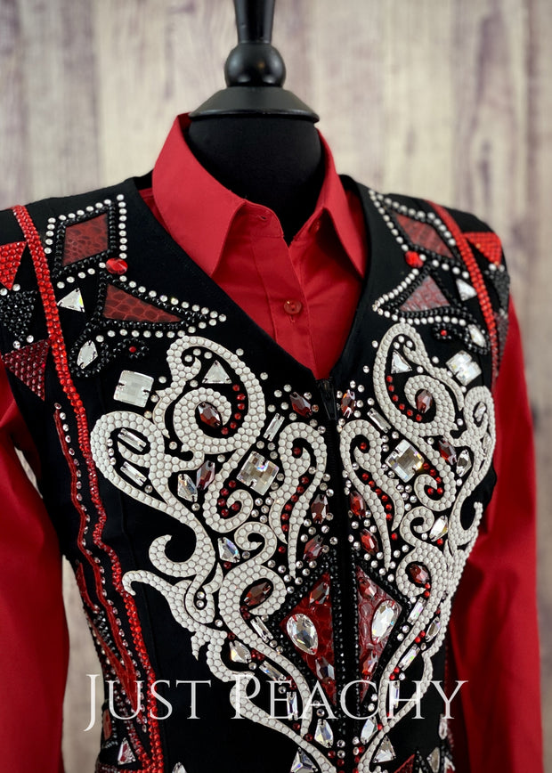 Red White And Black Vest By Dardar8 Designs ~ Ladies Xl Western Horse Show