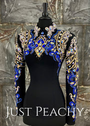 Crystal AB, Blue and Black DarDar8 Designs Horsemanship Shirt ~ Just Peachy Show Clothing