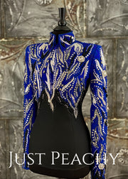 Silver Royal Blue And Black Horsemanship Shirt By Dry Creek Designs ~ Ladies Small/medium Western