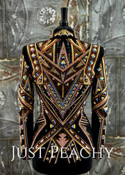 Copper, Rose Gold, Gold and Black Showmanship Jacket by DarDar8 Designs ~ Ladies Small