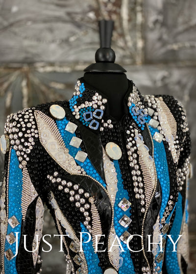 Turquoise, Silver, Black and White Riding Jacket with Fringe by Lindsey James ~ Ladies XS/Small