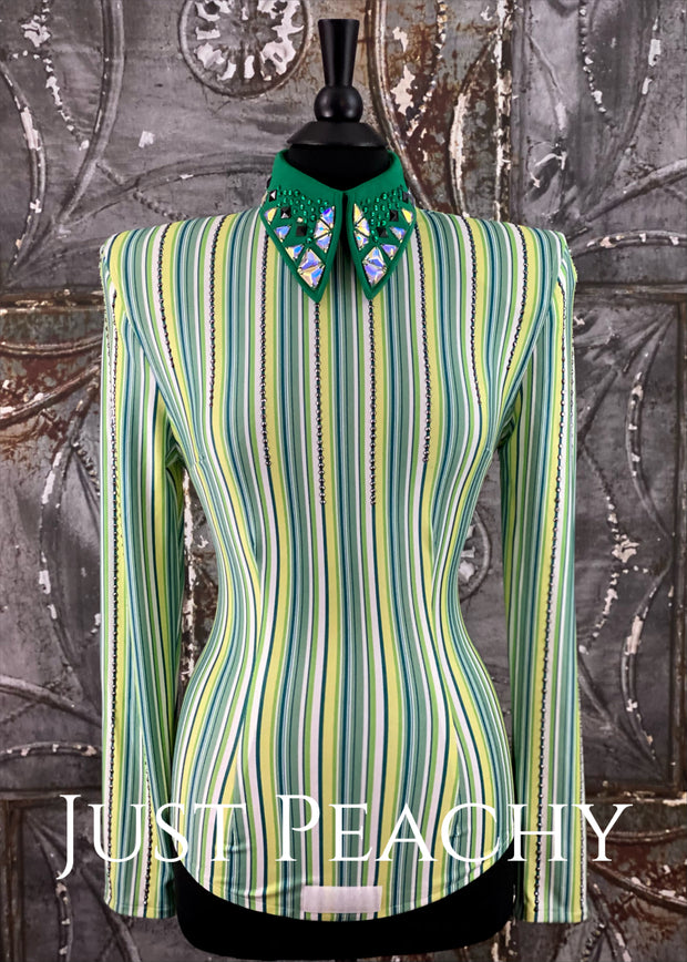 Kelly Green Pinstripe Day Shirt with Bolero Vest by Deb Moyer ~ Ladies Small