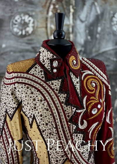 Red, Gold and White Jacket by Lindsey James ~ Ladies Medium