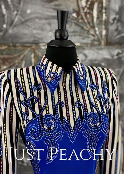Royal Blue, White and Black Pinstripe Horsemanship Shirt by Paula's Place ~ Ladies XS