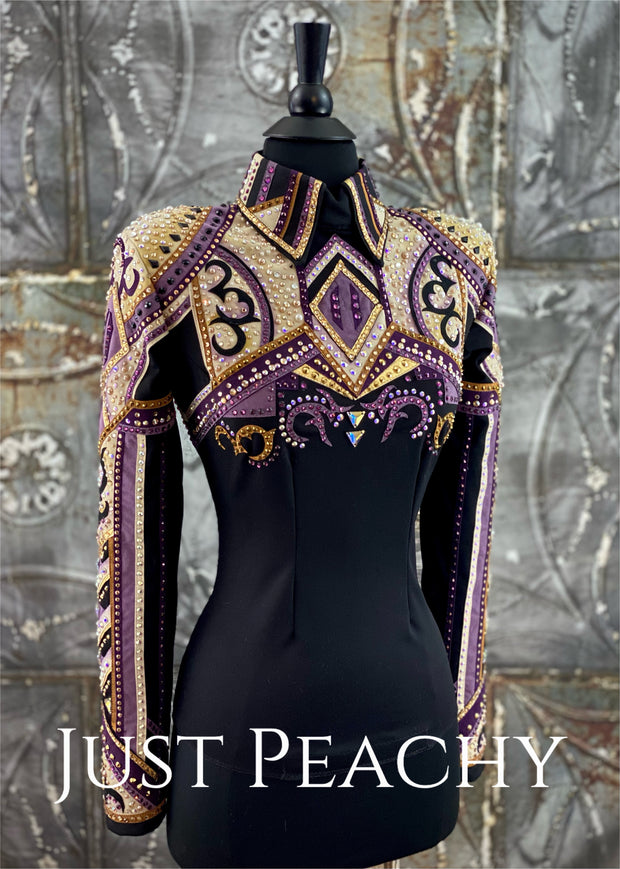 Amethyst, Carmel and Black Horsemanship Shirt by Set Apart Show Apparel ~ Ladies XS/Small