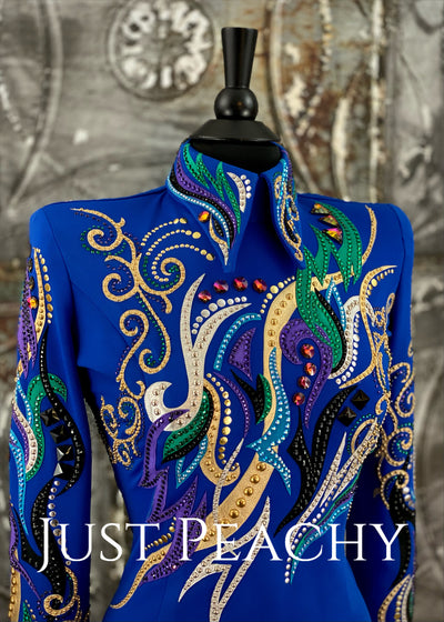 Royal Blue and Multi-Color Horsemanship Shirt by Paula's Place ~ Ladies Small