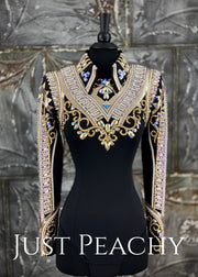Champagne, Crystal AB and Black Horsemanship Shirt By Stella ~ Just Peachy Show Clothing