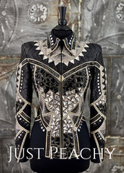 Black Grey And Cream Jacket By On Pattern Designs ~ Ladies Small Western Horse Show