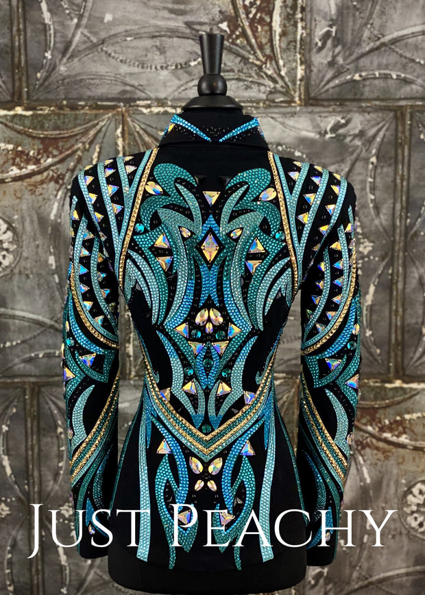 Teal Gold And Black Showmanship Jacket By Dardar8 Designs ~ Ladies Small Western