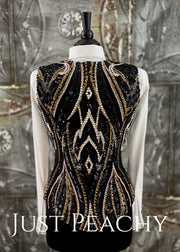 Gold, Crystal AB and Black Vest by KLS Designs ~ Ladies Small