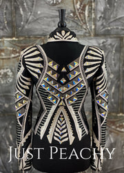 April Salisbury pewter, white and black jacket ~ Just Peachy Show Clothing