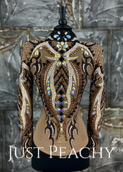 Mocha, Copper and Black Outfit with Chaps by Lindsey James ~ Just Peachy Show Clothing