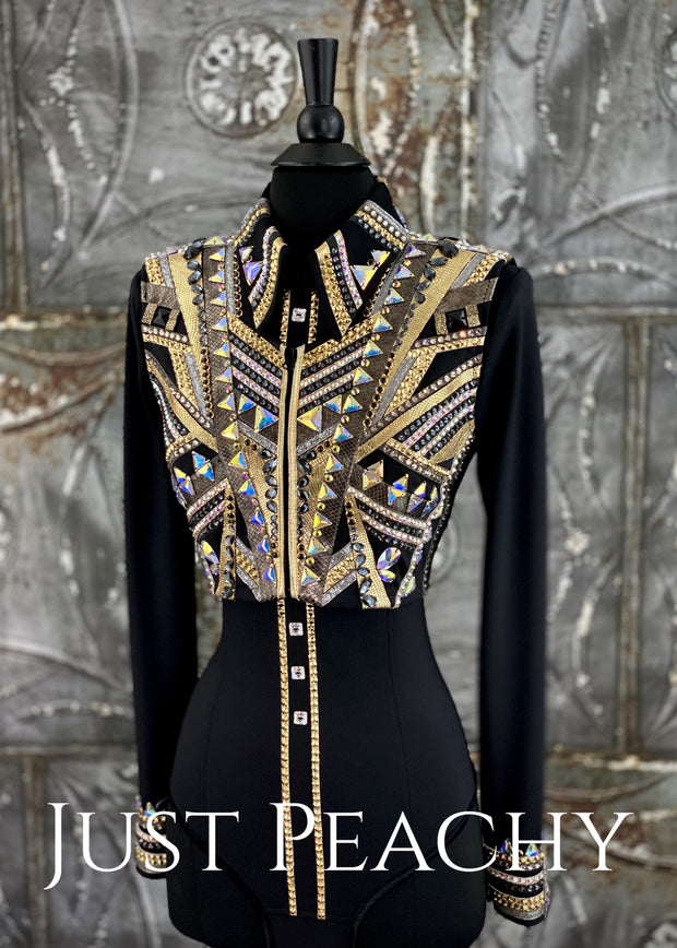 Gold, Pewter and Black Bolero Vest and Shirt Set by Stella ~ Ladies XS